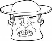 Outline of Man in Hat — Stock Vector