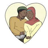 Feliz pareja con mascota en corazón — Vector de stock