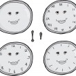 Smiling Clock Faces Set — Stock Vector #63534219