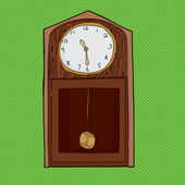 Grandfather Clock Over Green — Stock Vector