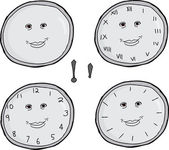 Smiling Clock Faces Set — Stock Vector