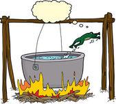 Smart Frog Escaping Cauldron — Stock Vector