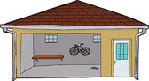 Isolated Garage with Bike and Doorway — Stock Vector