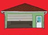 Broken Garage Door Over Red — Stock Vector