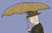Man Holding Umbrella in Rain — Stock Vector