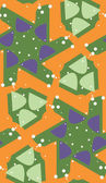 Seamless Pattern of Green on Orange — Stock Vector