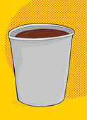 Cup of Coffee Over Yellow — Stock Vector
