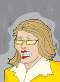 Cranky Lady in Yellow — Stock Vector