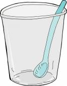 Empty Plastic Cup with Spoon — Stock Vector