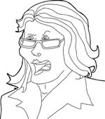 Outline Drawing of Angry Lady — Stock vektor