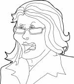 Outline Drawing of Angry Lady — Stockvector