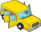 Yellow SUV With Broken Windshield — Stock Vector