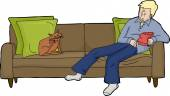 Isolated Man on Loveseat with Cat — Stock Vector