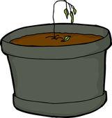 Dying Little Houseplant — Stock Vector