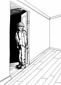Outline of Skeptical Teen in Room — Stock Vector