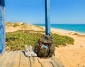 Backpacking traveller in a beach rest. Tavira island, Algarve. Portugal — Stock Photo