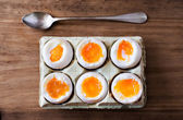 Half a dozen soft boiled eggs. — Stock Photo