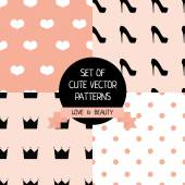 Set of cute female patterns — ストックベクタ