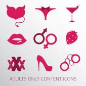 Sexy icons set for adult only content — Stock Vector