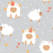 Happy new year sheeps on seamless background — Stock Vector