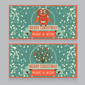 Cute owl on banner for christmas party in retro palette — Vector de stock