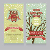 Cute owl on banner for christmas party in retro palette — Stockvektor