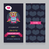 Invitation template with cute little owl for Valentine's Day — Wektor stockowy
