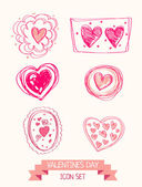 Set of doodle heart icons for valentines day — Stock Vector