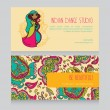 Cards for indian dance studio with paisley ornament — Stock Vector #56794767