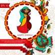 Happy diwali card with paisley ornament — Stock Vector #56794773
