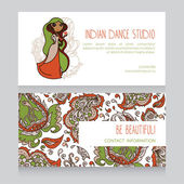 Cards for indian dance studio with paisley ornament — Stock Vector