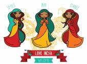 Set of three cute doodle indian girls — Vector de stock