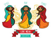 Set of three cute doodle indian girls — Stockvector