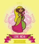Lovely doodle indian girl, banner for travel to india — Stock Vector