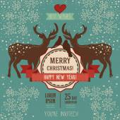 Lovely christmas card with deer couple — Stock Vector