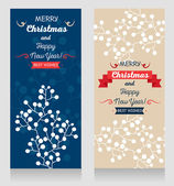 Set of two cute christmas cards with twigs ornament — Stock Vector