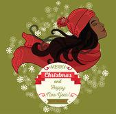 Cute african american young girl on christmas card — Vector de stock