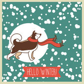 Hello winter, poster with cute husky — Wektor stockowy