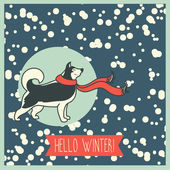 Hello winter, poster with cute husky — Stok Vektör