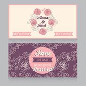 Beautiful floral wedding invitation — Stock Vector
