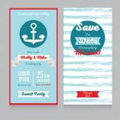 Invitation for beautiful nautical style wedding — Vettoriale Stock