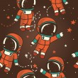 Постер, плакат: Cute doodle astronauts floating in space
