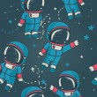 ������, ������: Cute doodle astronauts floating in space