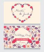 Floral wedding invitations — Stock Vector