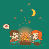 Cartoon boy and girl cooking a marshmallow, cozy hand drawn vector illustration — Stock Vector