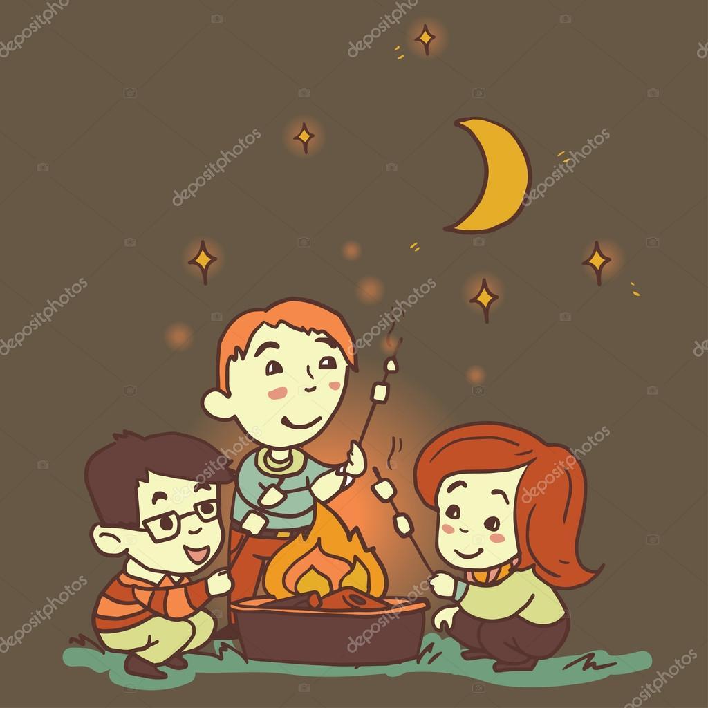 Three cartoon friends outdoor — Stock Vector © ghouliirina ...