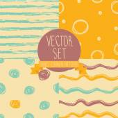 Set of four hand drawn seamless patterns — Stock Vector