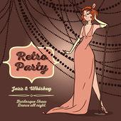 Cartoon women in retro style singing jazz music — Stockvector