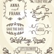 Wedding graphic set: frames, ribbons, labels and flowers. — Stock Vector #60961611