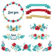 Collection of floral decorative elements for your design — Stock Vector
